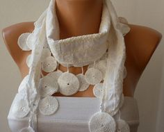 Scarf White  Cotton Scarf  Headband  Woman Necklace by fatwoman, $15.00