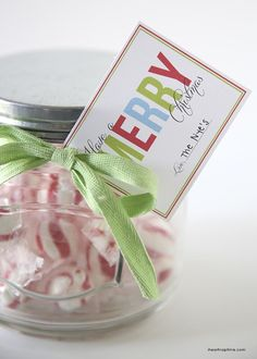 Christmas Jar Gift idea with FREE Printable Tags on { lilluna.com }