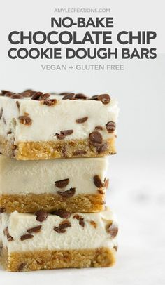 no-bake chocolate chip cookie dough bars #vegan #glutenfree #recipe