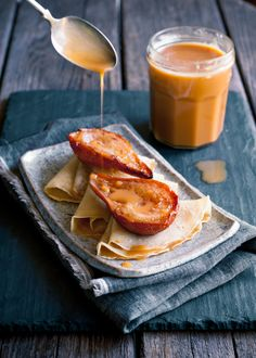Roasted Pear Crepes with Dulce de Leche