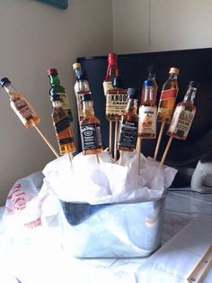 alcohol bouquet man guy gift Alcohol Bouquet, Boyfriend Ideas, Guy, Ice Cream, Desserts, Gifts, Food, No Churn Ice Cream, Tailgate Desserts