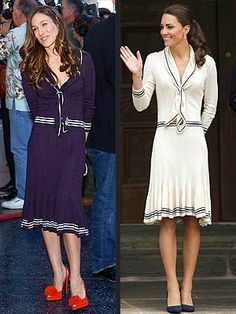 The Duchess of Cambridge kept up her cream theme this week in a navy-trimmed, nautical-inspired dress by the brand behind her wedding gown, Alexander McQueen, for an appearance on her North American tour. But it wasn't the first time we'd seen a star looking ready to set sail in a creation by the late designer. Sarah Jessica Parker (just announced as one of Hollywood's top-earning actresses!) wore a strikingly similar McQueen dress — with the colors in reverse — ...