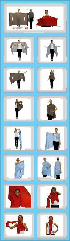 "Find some lightweight, stretch fabric, and wrap away. Bina used a material that consists of Rayon – Jersey. (Bina sells her wraps ready-made $42.50? which is not that unreasonable either, particularly since the wrap comes with a booklet on how to wear the various styles.) Middle Panel: 3x hip width (not circumference); Side panels: 2 width of hips. Length shoulder to knee. Slits 14"" wide"
