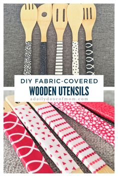 These DIY fabric-covered wooden utensils are such an easy way to dress up your kitchen or give as a great gift for a housewarming or for the holidays! Check out this tutorial to make your own! Easy Arts And Crafts, Fun Diy Crafts, Holiday Crafts, Home Crafts, Craft Projects For Kids, Arts And Crafts Projects, Decor Ideas, Gift Ideas, Dollar Store Crafts