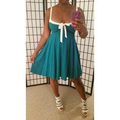 ✳ Victorias Secret Teal Dress ✳ VS Teal Dress with white trim & tie, great like new condition,  built in shelf bra, empire style.  Victoria's Secret Dresses
