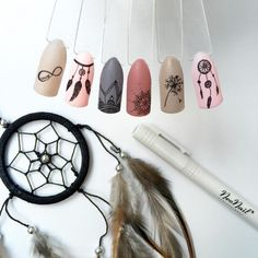 Dream catcher and other symbols on nails pretty things swag nails, acrylic nail Funky Nails, Love Nails, Pretty Nails, My Nails, Nail Swag, Nail Art Designs, Dream Catcher Nails, Dream Catchers, Nail Photos