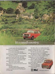 Vintage magazine car advertisement, British Leyland Mini, c.1972.