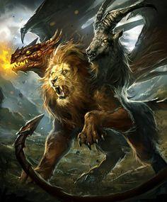 Chimera--Arcane Gladiator TCG by mlappas on DeviantArt Mythical Creatures Art, Mythological Creatures, Magical Creatures, Fantasy Creatures, Fantasy Kunst, Dark Fantasy Art, Fantasy Artwork, Fantasy Monster, Monster Art