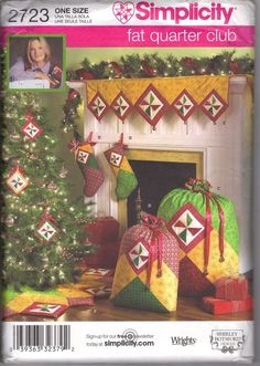 Christmas Decorations Simplicity #2723 Sewing Pattern Stocking Bag Mantel Scarf…
