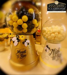 We customized this faux gumball and candy jar for this bee themed shower