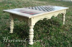 Painted With Chalk Paint @ Hartwood Roses. hmm fun idea, never have to search for the game boards again lol Board Game Table, Table Games, Board Games, Game Tables, Repurposed Furniture, Painted Furniture, Furniture Makeover, Diy Furniture, Checkerboard Table