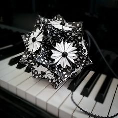 Music Notes Paper Flower Ornament  Kusudama Flower  by Lilomina