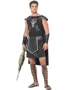 Adult Roman Spartan Gladiator Warrior Mens Fancy Dress Stag Party Costume Outfit