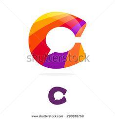 C letter logo, speech bubble negative space volume vector icon