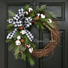 Christmas Wreath-Winter Wreath-Buffalo Print Wreath-Farmhouse Winter Wreath-Rusted Sleigh Bell Wreath-Cotton Boll Wreath-Black and White Bow Rustic Christmas, Winter Christmas, Christmas Home, Christmas Crafts, Christmas Decorations, Holiday Decor, Christmas Ideas, Make A Christmas Wreath, Hobby Lobby Christmas