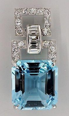 Art Deco. Platinum, Asscher Aquamarine and Diamond Pendant, c1920-1930. -- 1stdibs