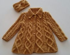 Girl jacket/handknitted coat/knitting hairband/baby girl/antipilling/saffran/collar/knitting/girl/winter/outfit/birthday gift/christmas gift