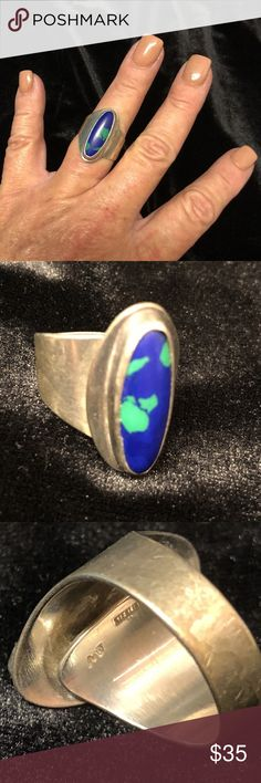 Vintage Sterling Silver Azurite Malachite Ring Vintage Sterling Silver Azurite Malachite Ring Size 7.5 Jewelry Very good condition Jewelry Rings