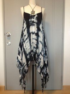 Beautiful Summer tie dye dress,boho dress black and white color on Etsy, $49.03