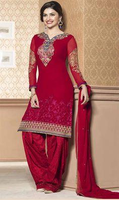 Prachi Desai Red Georgette Punjabi Patiala Suit