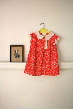vintage 30s girls dress - POPPIES floral cotton voile dress / 3-4T. $21.00, via Etsy.