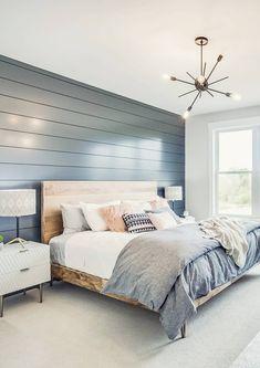 Master Bedroom Design, Home Decor Bedroom, Modern Bedroom, Bedroom Designs, Teen Bedroom, Blue Master Bedroom, Accent Wall Bedroom, Bedroom Rustic, Accent Walls