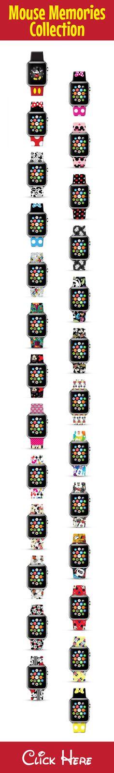 mickey / minnie apple watch leather strap, cute apple watch band Cute Apple Watch Bands, Apple Watch Leather Strap, Mickey Mouse, Women's Fashion, Watches, Disney, Fashion Women, Wristwatches