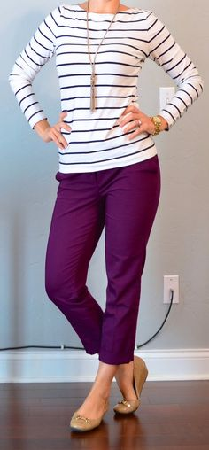 Outfit Posts: outfit post: striped top, purple cropped pants, nude flats--- purple pants for work? Casual Work Outfits, Work Attire, Work Casual, Cute Outfits, Stylish Outfits, Outfit Work, Flats Outfit, Comfy Casual, Office Attire