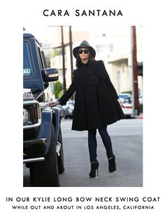 Our Kylie Swing Coat is one of our faves!! We spotted the gorgeous Cara Santana looking chic while rocking it in L.A.!