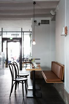Helsinki-based interior architect Joanna Laajisto - impeccable taste and beautifully elegant design aesthetic Beautiful banquette, lighting, and wall finishes. Dislike the dining table, and perhaps another floor finish could have been used. Corner Seating, Cafe Seating, Restaurant Seating, Banquette Seating, Lounge Seating, Restaurant Design, Restaurant Bar, Kitchen Banquette, Cafe Bench