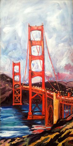"Original Oil Painting 16x30"" ""san Francisco Golden Gate"""