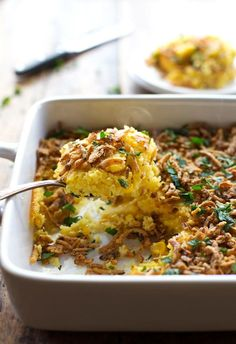 Corn Pudding with Crispy Onions and Herbs