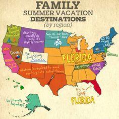 Family Summer Vacation Destinations by region