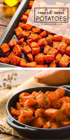 Roasted Sweet Potatoes are a quick and easy holiday side dish! Diced seasoned with smoked paprika and roasted in the oven these Christmas side dishes for a crowd are caramelized outside and have a soft center. Try these crispy and tender sweet potatoes! Baked Sweet Potato Cubes, Sweet Potato Home Fries, Sweet Potato Seasoning, Sweet Potato Side Dish, Oven Roasted Sweet Potatoes, Sweet Potatoe Bites, Cubed Sweet Potatoes, Recipes, Side Dishes