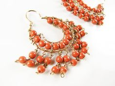 Vintage Chandelier Earrings with Coral Beads in by MyChouchou, $8.50