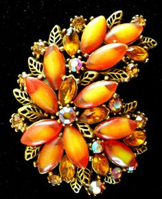 Signed by ART Brooch Orange Yellow Givre by RenaissanceFair, $39.50
