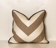 Linen Beige and White Chevron Throw Pillow by ccduexvie on Etsy, $48.50