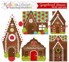 INSTANT DOWNLOAD gingerbread house clipart por JessicaSawyerDesign, $4.00
