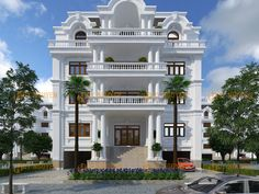 biet-thu-co-dien-1 House Arch Design, Home Building Design, Modern Exterior House Designs, Modern House Facades, Historic Homes For Sale, Indian House Plans, Classic House Design, Architectural House Plans, Mansion Interior