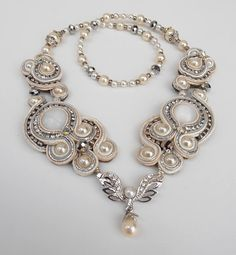 Royal Splendor Soutache necklace in White, Cream, Silver and Pearl