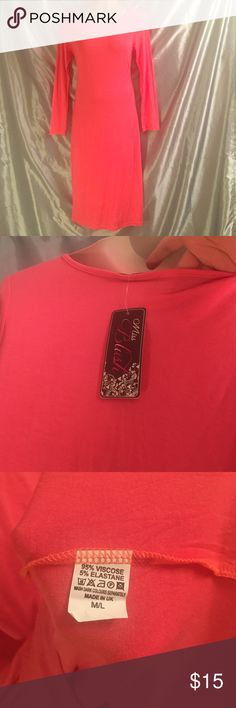 """NWT coral pink soft stretch lounge midi, size L The perfect dress for curling up with a good book, or longing around the house. This super soft, second skin stretchy viscose midi is a gorgeous bright coral pink, with long sleeves. Marked a L, it better fits a medium for a loose fit. It is slightly body hugging on a Large, but has incredible elasticity. It is machine washable, but quite thin, not sheer, just a bit too much for public. Perfect condition. 41"""" long. Miss Blush Intimates…"""