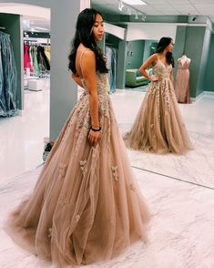 Elegant V neck Tulle Appliques Long Prom Dress with Spaghetti Straps, Formal Evening Gown T1800 Elegant Prom Dresses, Plus Size Prom Dresses, Formal Evening Dresses, Evening Gowns, Formal Prom, Formal Dress, Tulle Prom Dress, Women's Fashion Dresses, Appliques