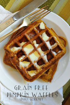 Simply Gourmet: Grain Free Pumpkin Waffles - with coconut flour and eggs
