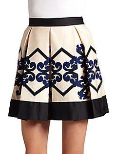 Robert Rodriguez Baroque Print Pleated A Line Skirt Diy Dress Baroque