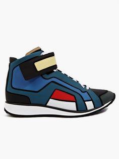 Pierre Hardy Men's Contrasting Matte Leather Hi-Top Sneakers | oki-ni