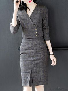 Buy Plaid V-Neck Sleeve Two Piece Bodycon Dress with High Quality and Lovely… - Tout Sur La Mode Féminine Work Dresses For Women, Suits For Women, Clothes For Women, Women's Dresses, Casual Dresses, Fashion Dresses, Bandage Dresses, Dresses Online, Mode Outfits