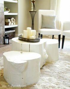 diy tree stump coffee table- very modern painted white Tree Stump Coffee Table, Diy Coffee Table, Trunk Table, Log Table, Table Seating, Painted Furniture, Diy Furniture, Rustic Furniture, Painted Wood