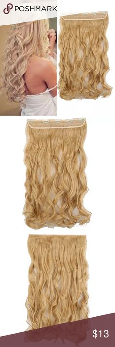 24L curly Beige Blonde clip in extensions 24 L Beige Blonde clip in high quality synthetic hair extensions !! Will come with easy care instructions . Bundle and save Accessories Hair Accessories