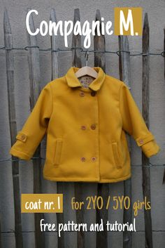 A free sewing pattern for Coat by Compagnie M. A pattern for 2 year old girls. Sewing Patterns For Kids, Sewing For Kids, Baby Sewing, Free Sewing, Clothing Patterns, Sewing Kids Clothes, Diy Clothes, Sewing Blogs, Baby Kind
