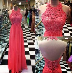 Red Lace Halter Lace Bodice Chiffon Hem Long Prom Dress/Homecoming dress  This dress can be custom made, both size and color can be custom made. Custom size and color made will charge for no extra. If you need a custom dress, please send us messages for your detail requirements.  For custom s...
